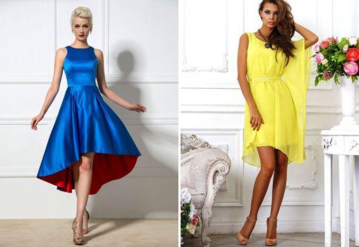 асиметричные коктейлные платья.