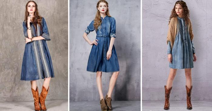 Виды джинсовых платьев.