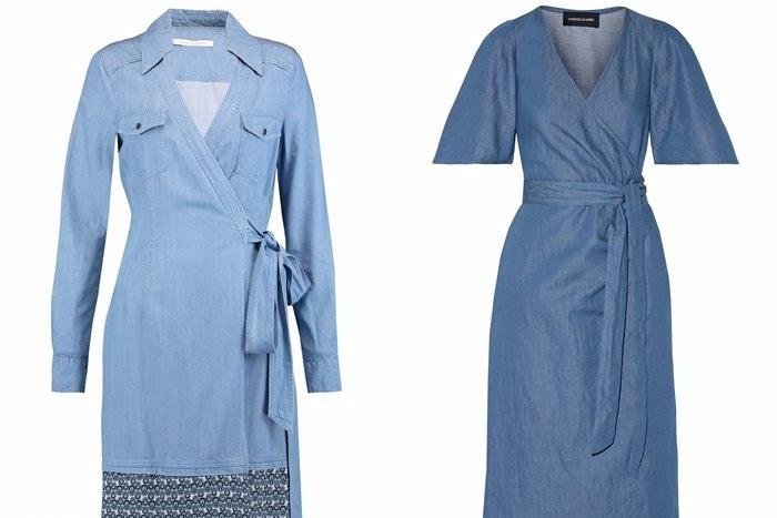 Джинсовые платья с запахом.