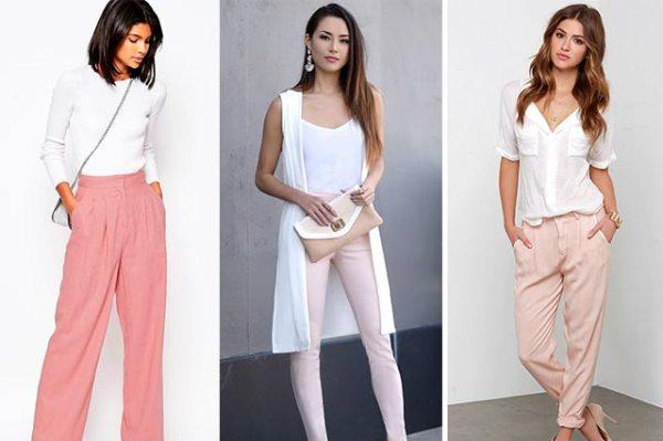 джинсы пастельных оттенков.