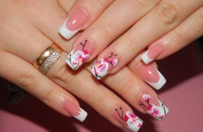 роспись на квадратные ногти.
