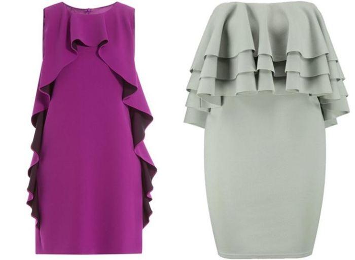 Платья с рюшами разного цвета.