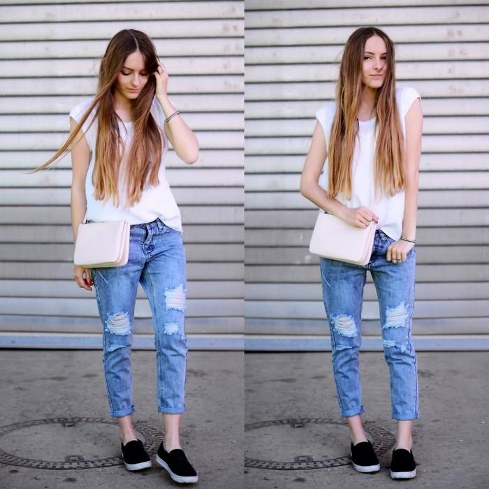 Короткие джинсы.