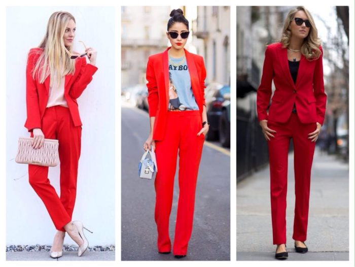 Красный брючный костюм.