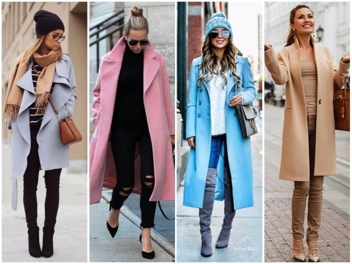 Длинное весеннее пальто.