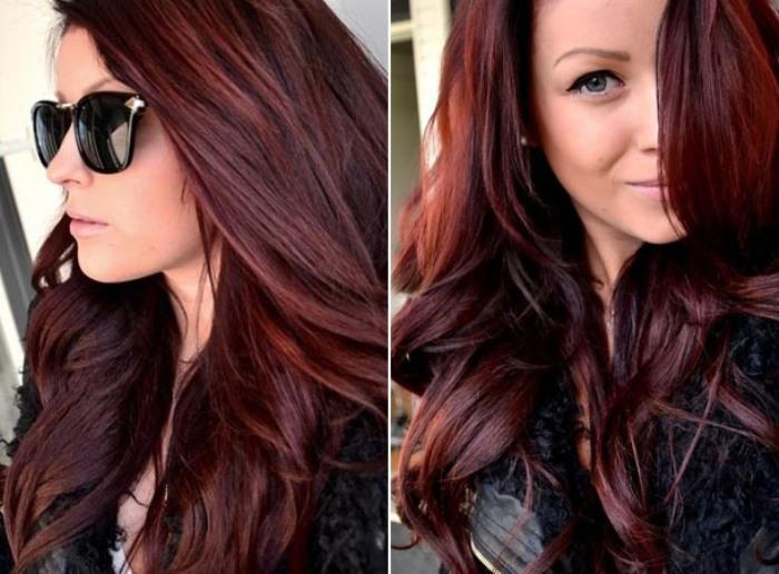 Цвет волос вишневый шоколад.