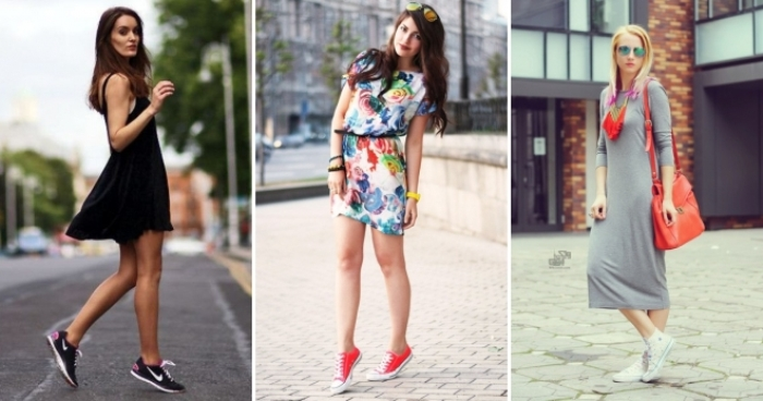 юбки и платья с кедами.