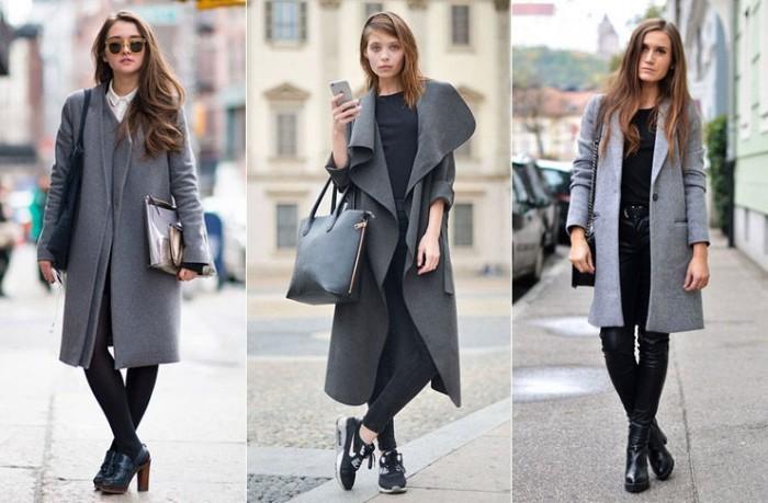 Серое пальто.