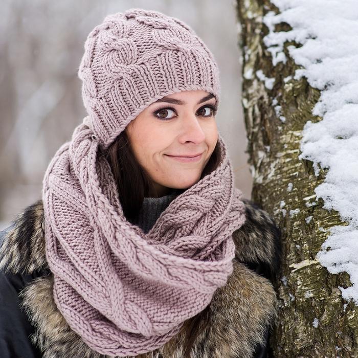 шапка снуди с шарфом.