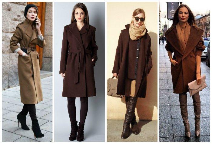 Темно-шоколадное пальто.