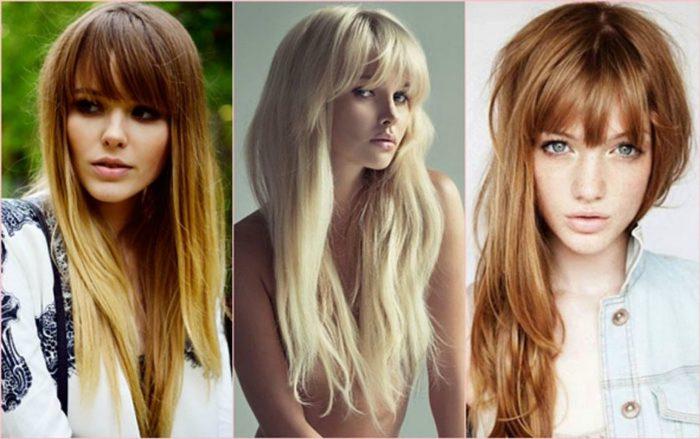 Длинные волосы с челкой.
