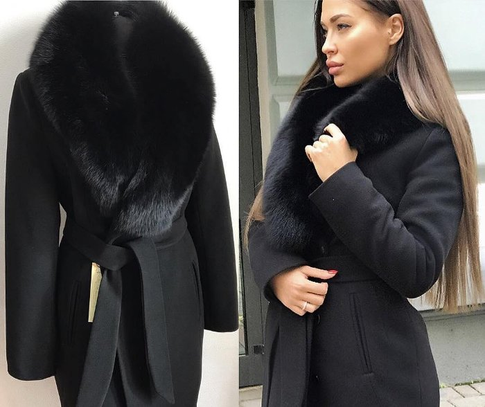Пальто с меховым воротником.