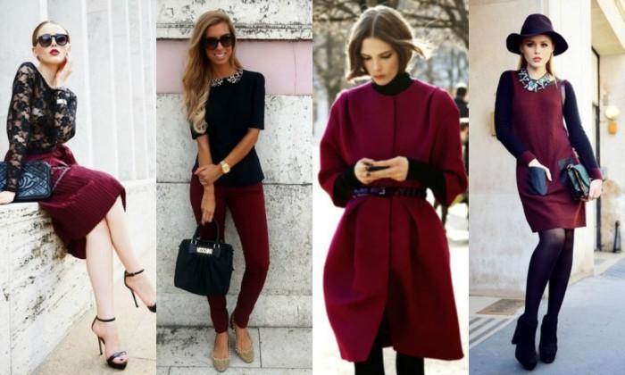 Бордовая одежда.