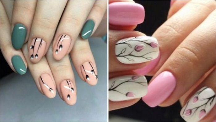 Цветочные мотивы на ногтях.