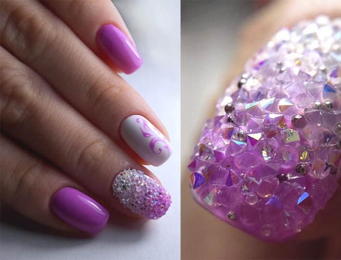 Хрустальный дизайн ногтей.