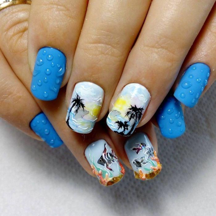 Морская тема на ногтях.