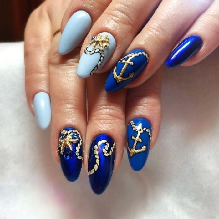 дизайн ногтей в морский оттенках.
