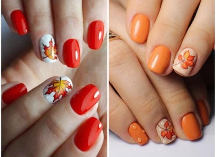 Осенние рисунки на ногтях.