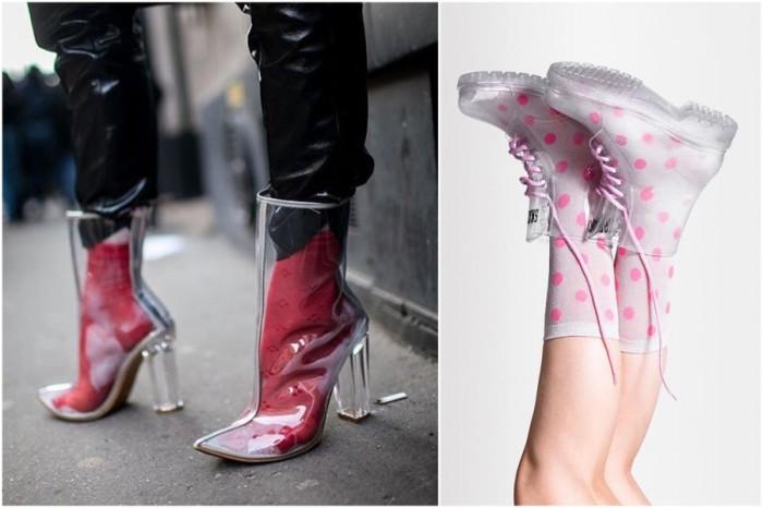 прозрачная обувь.