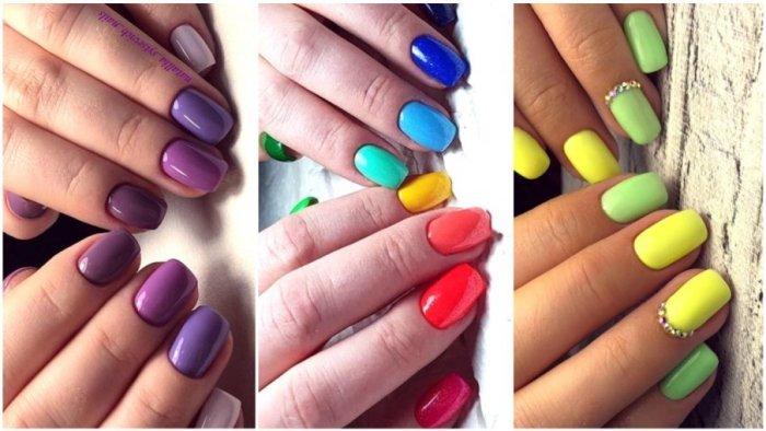 разноцветный маникюр.