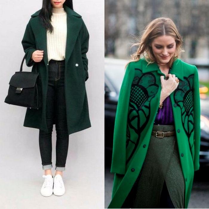 Зеленое пальто.
