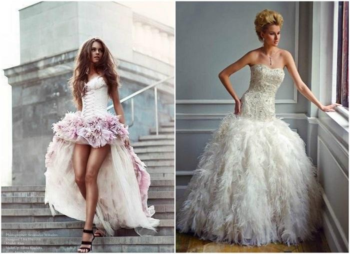 Платья с перьями.