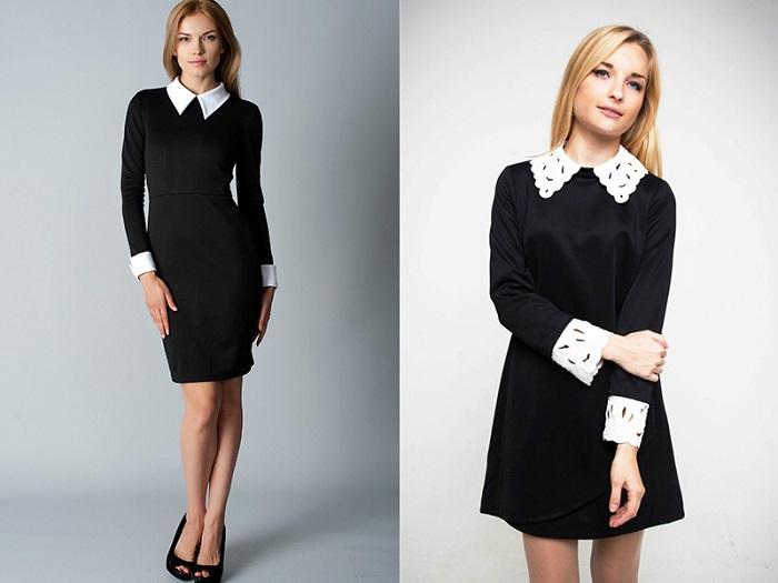 Черное платье с белым воротником.