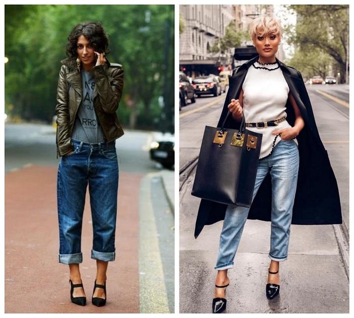 С чем надеть джинсы оверсайз.