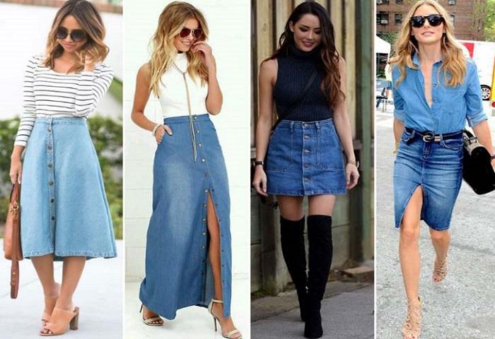 Модные джинсовые юбки.