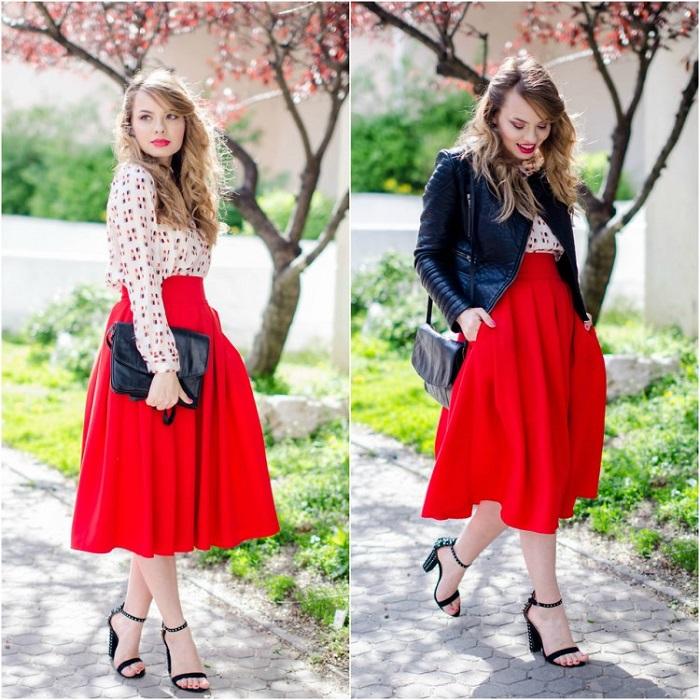 Красная пышная юбка.
