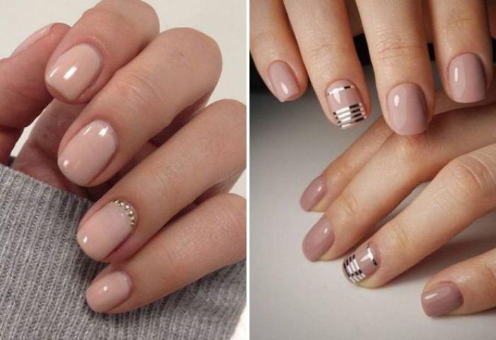 Нюдовый маникюр на короткие ногти.