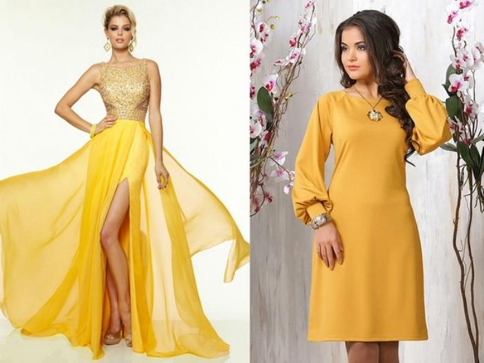 платья желтых оттенков.