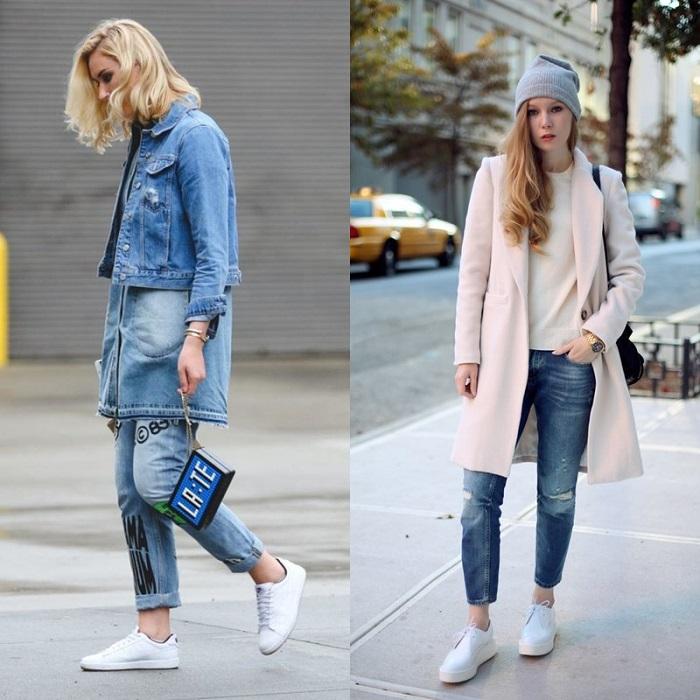 Укороченные джинсовые брюки.
